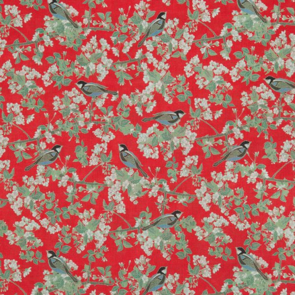 Bird in Blossom Lawn Red Swatch by Emily Burningham