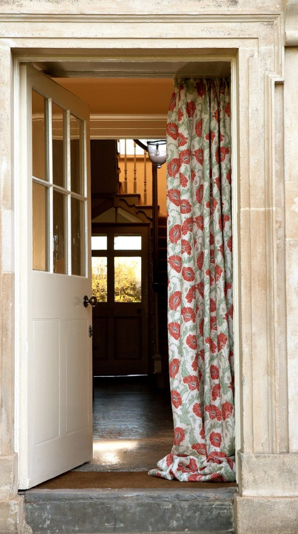 Poppies Rouge Clair Curtain by Emily Burningham