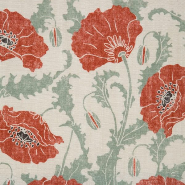 Poppies Rouge Clair Linen by Emily Burningham